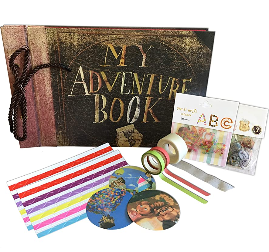 My Adventure Book - Up Pixar Movie DIY Scrapbook With Glue Dots, Letters, Numbers Assorted Corner Stickers. Create the Perfect Adventure Photo Album