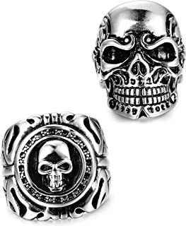 2 PCS Stainless Steel Ring for Men Teens Skull Biker Ring