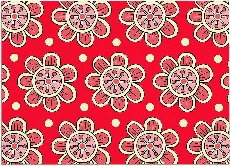 KESS InHouse SO1012ADM02 Sarah Oelerich Scarlet Flowers Red Floral Dog Place Mat, 24  x 15