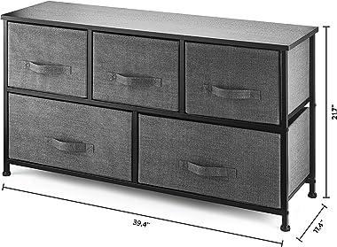 5 Drawer Dresser Organizer Fabric Storage Chest for Bedroom, Hallway, Entryway, Closets, Nurseries. Furniture Storage Tower S