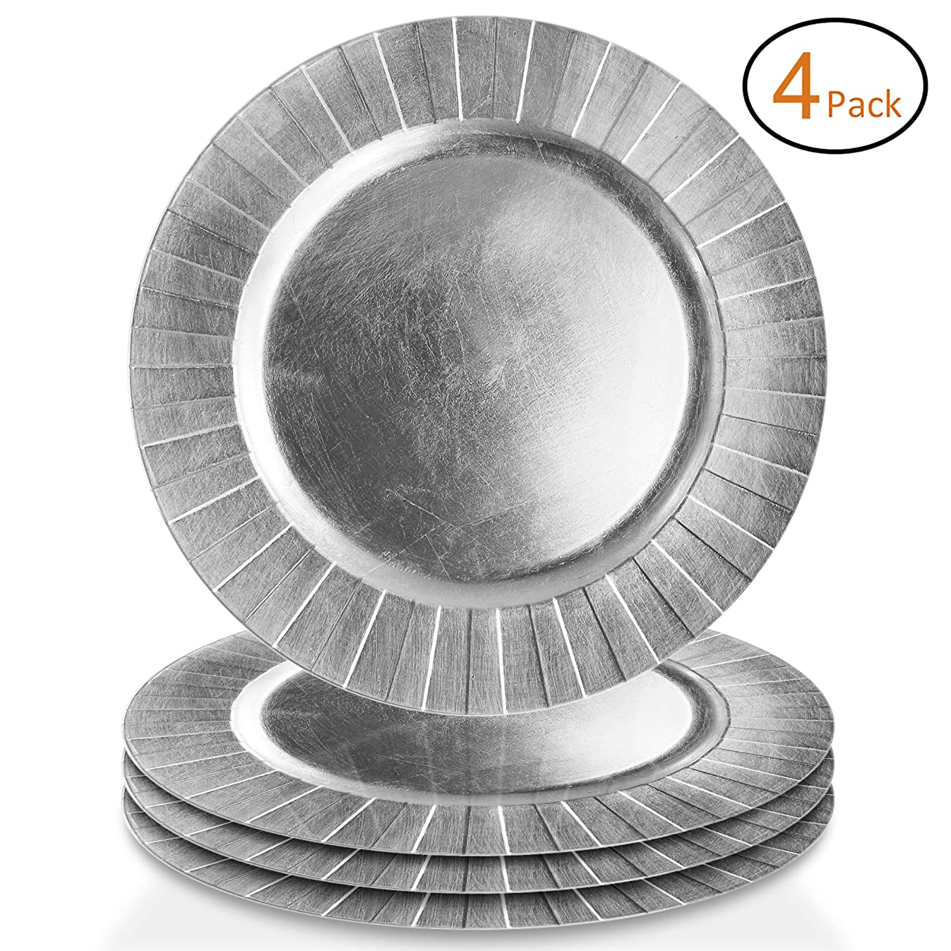 American Atelier Charger Plates Burst Melamine 13 Inch, Silver, Set of 4