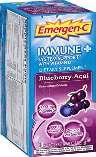 Emergen-C Immune+ System Support Dietary Supplement with Vitamin D (Blueberry-Acai Flavor, 30-Count 0.31 oz. Packets)