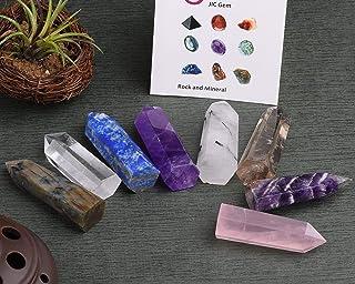 "JIC Gem 8pcs 2.5-2.7"" (6-7cm) Hand Made Quartz Points: Labradorite, Clear Quartz, Lapis Lazuli, Amethyst, Black Tourmaline Quartz, Smokey Quartz, Chevon Amethyst, Rose Quartz"