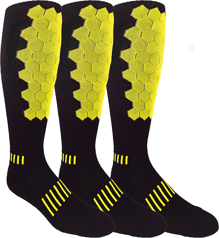 MOXY Socks 3-Pack Black with Yellow Premium Deadlift HELIX Fitness Knee-High Socks