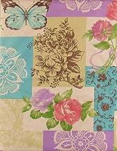 Spring Fling Flower/butterfly Patchwork Vinyl Flannel Back Tablecloth (52 x 70 Oblong)