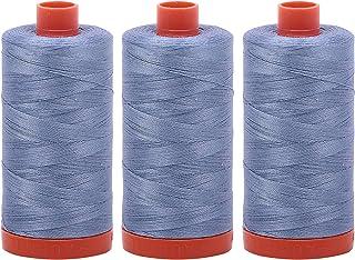 Bundle of 3 Large 1422 Yard Spools of Aurifil 50wt Egyptian Cotton Thread, Color: Slate, No. A1050-6720