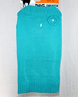 Teal with Flower Dog Sweater Knit Turtle Neck - Large by Walmart