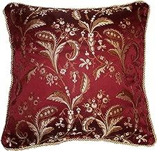 Violet Linen Luxury Damask Decorative Cushion Cover, 18 x 18, Burgundy