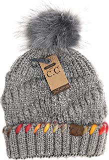 Women's C.C Fuzzy Lined Ombre Thread Accent Pom Beanie (Grey)