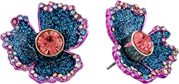 Betsey Johnson Blue and Pink Glitter Flower Stud Earrings