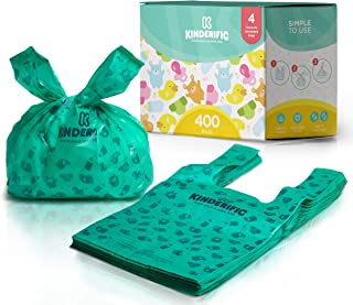 Disposable Diaper Bags, by Kinderific, Fresh Scent, Packed in 4 Resealable Ziploc Bags, 400 Bags