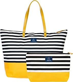 AQVA Women's Tote Bag with Zipper Pouch, Printed Cotton Canvas Tote Bag / Shoulder Bag with Top Zip & Leather Handles, Han...