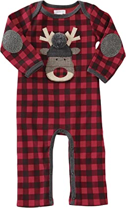 Mud Pie - Buffalo Check Reindeer One-Piece (Infant)