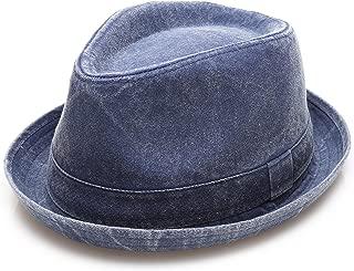 Men's Denim Washed Cotton Casual Vintage Style Fedora Sun Hat