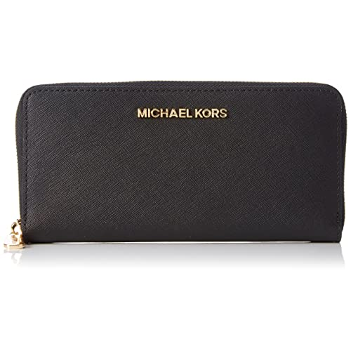 60acd326971 Michael Kors Jet Set Black Leather Travel Continental Wallet