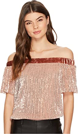 1.STATE - Off Shoulder Top with Velvet Band