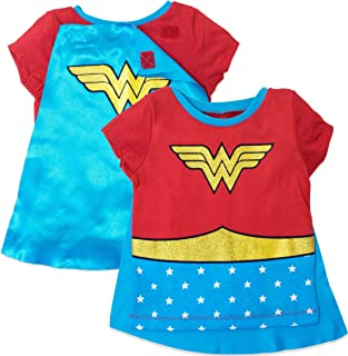 Wonder Woman Girls' Costume Tee Shirt with Cape Red