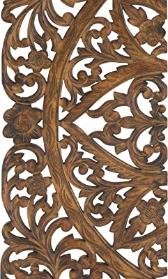 "Deco 79 14255 Large Hand-Carved Wood Wall Panels with Floral & Acanthus Designs, 24"" x 71"""