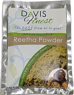 Davis Finest Premium Reetha Aritha Soapnut Polvo 100% Natural Pura Fruta polvo Chemical Parabeno Preservativo sin SLS Natural Jabón y champú Hojas Piel Limpia cabello y cuero cabelludo