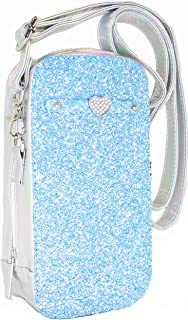 Side Phone Bag - Small Cell Phone Purse Crossbody Bag - Silver Iridescent Hologram with Blue Glitter