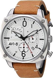AVI-8 Men's Hawker Hunter Stainless Steel Japanese-Quartz Aviator Watch with Leather Strap, Brown, 22 (Model: AV-4052-01