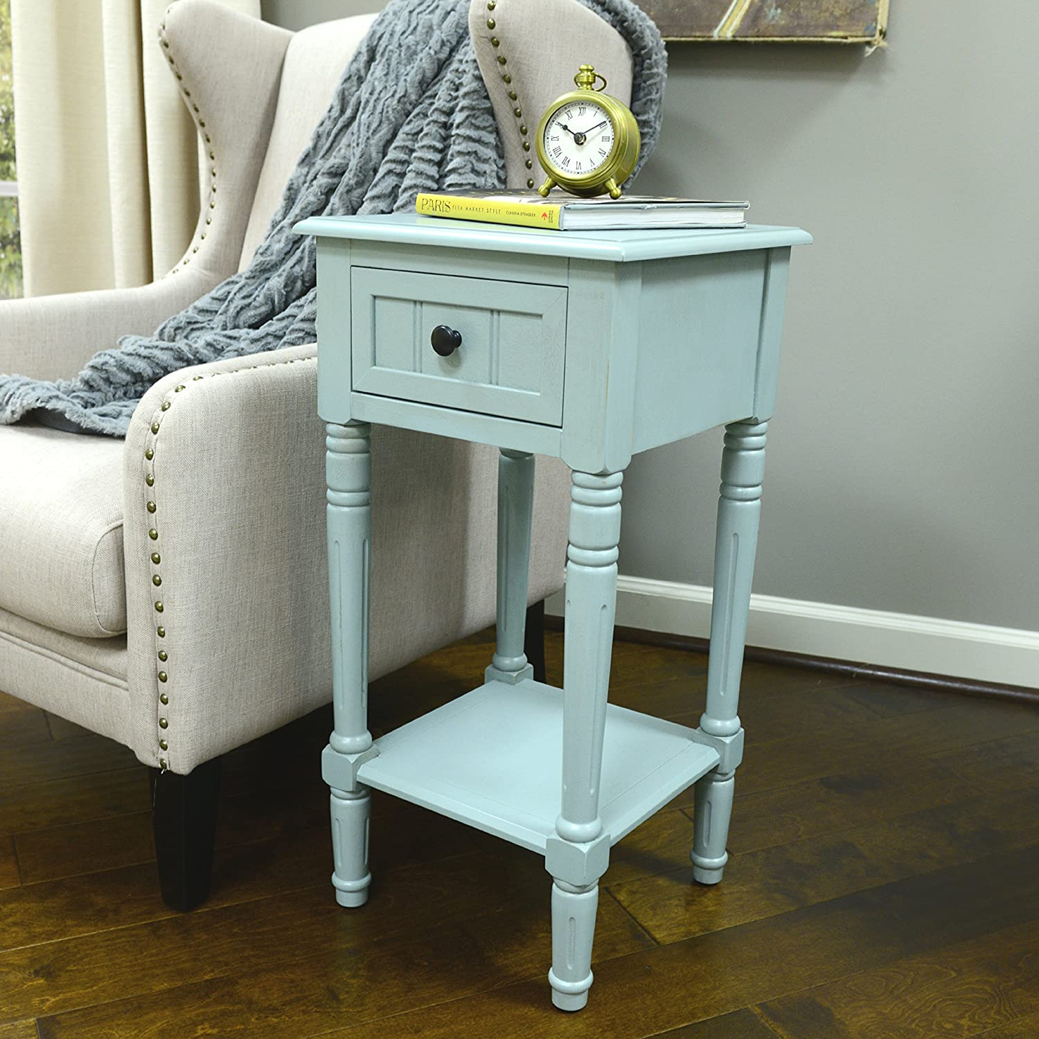 Décor Therapy FR1550 Simplify One Drawer Square Accent Table, Antique Iced bluee