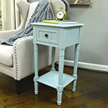 Décor Therapy Simplify One Drawer Square Accent Table, Antique Iced Blue