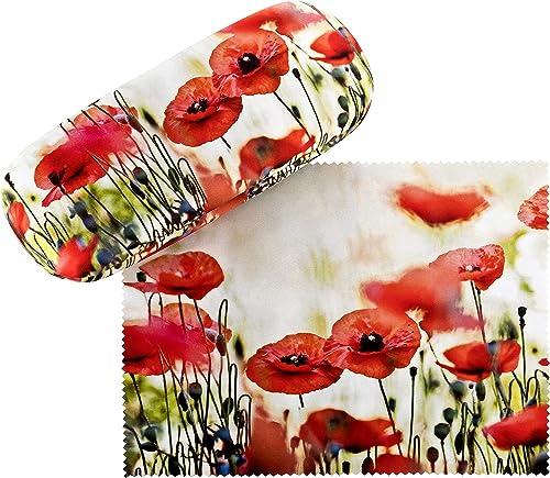VON LILIENFELD Étui Lunettes Boîte Robuste Cadeau Étui Lunettes de Soleil Chiffon de Nettoyage Fleur Floral Coquelicots