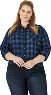 Riders by Lee Indigo Women's Plus Size Heritage Long Sleeve Front Solid Twill Shirt