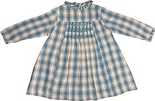 Vestido otoño-Invierno niña y Bebe Bordado a Mano Smock Manga Larga - Cuadro escocés azulón/Gris Claro