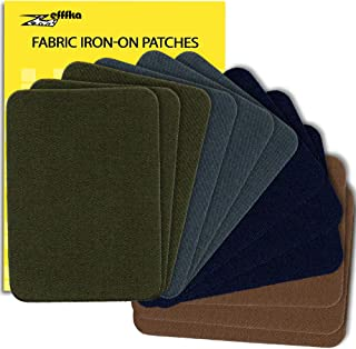 """ZEFFFKA Premium Quality Fabric Iron On Patches Deep Blue Gray Brown Khaki Green 12 Pieces 100% Cotton Repair Kit 3"""" by 4-1/4"""""""