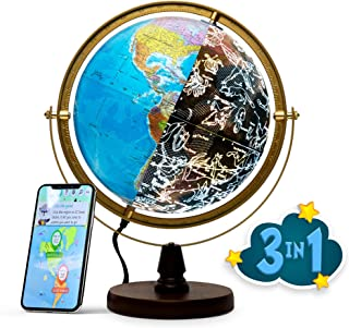 SJSMARTGLOBE with Interactive APP & LED Illuminated Constellations at Night, Educational Content for Kids, US-Certified LED & US-Patented STEM Toy, 10