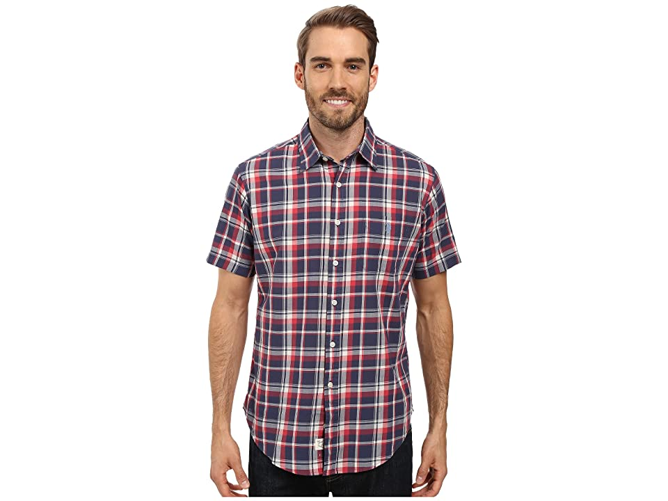 U.S. POLO ASSN. Short Sleeve Classic Fit Plaid Poplin Sport Shirt (Mood Indigo) Men