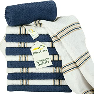 Kitchen Towel Set (15 x 25 Inches, 12 Pack, 380 GSM in NAVY Color), Popcorn Striped Cotton Luxury Kitchen Towel Highly Abs...