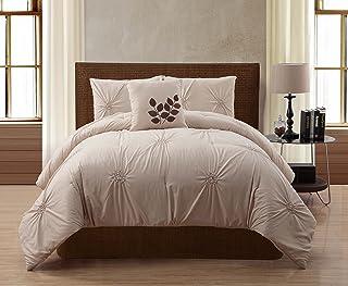 VCNY Home 4 Piece Comforter Set, Microfiber, Taupe, king