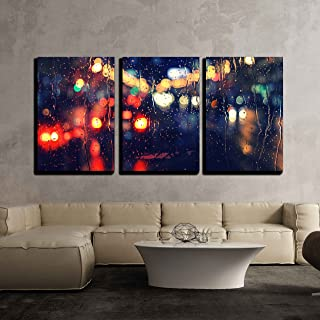 wall26 - 3 Piece Canvas Wall Art - Night City Life Through Windshield: Cars, Lights and Rain, Vintage Style Photography - Modern Home Decor Stretched and Framed Ready to Hang - 16