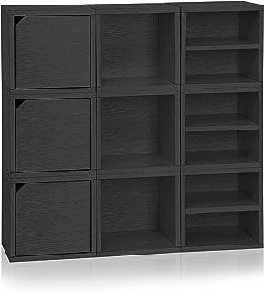Way Basics Sistema Modular 3 en 1 de estantería Connect con Cubos de Madera Negra (Montaje sin Herramientas y procesamiento cartón zBoard) Pizarra de Papel Reciclado, Talla única