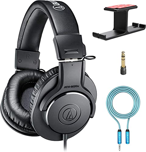 lowest Audio-Technica ATH-M20x Professional Studio Monitor discount Headphones (Black) Bundle outlet sale with Blucoil Aluminum Dual Suspension Headphone Hanger, and 6-FT Headphone Extension Cable (3.5mm) outlet online sale
