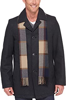 Men's Size Tall Wool Melton Walking Coat with Detachable Scarf