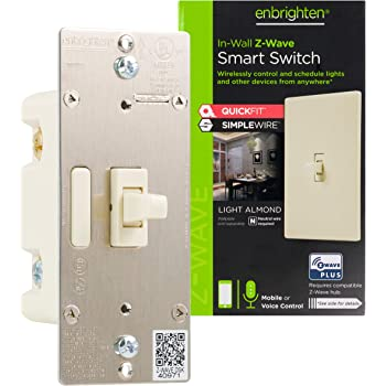 Enbrighten Almond Z-Wave Plus Smart Light Switch with QuickFit and SimpleWire, 3-Way Ready, Works with Alexa, Google Assistant, ZWave Hub Required, Repeater/Range Extender, Toggle, 14293