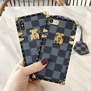 Luxury TPU Leather Square Trunk Style Case with Matching Lanyard for iPhone 7 / iPhone 8 Plus/iPhone X/XR/iPhone 11/ iPhone 11 Pro Max Grip Pattern Shockproof Case (Gray, iPhone 7 Plus/ 8 Plus)