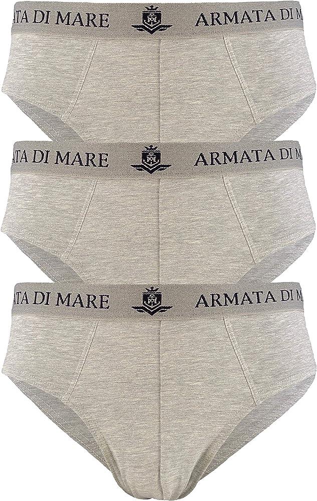 Armata di mare, 3 paia di mutande , slip per uomo, in cotone elasticizzato , grigi