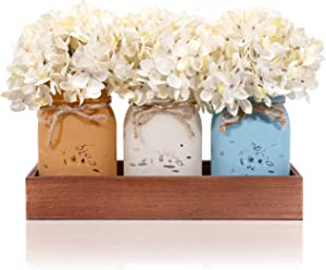 Mason Jar Centerpiece for table Set for Rustic Farmhouse Decor, Living Room, Kitchen, Dining Room – Set of 3 Distressed Glass Mason Jars with Wood Tray, Twine and Hydrangea Flowers for Rustic Farmhouse Décor (Quart)
