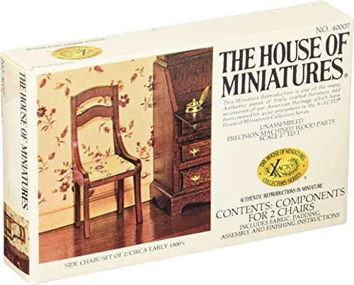 calidad auténtica The House House House Of Miniatures - Side Chair   Set Of 2   Circa Early 1800's - Doll House Furniture  40007 by The House of Miniatures  ahorra 50% -75% de descuento