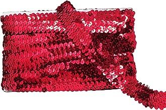 Mandala Crafts Elastic Sequin, Flat Glitter Stretch Bling Paillette Fabric Ribbon, Metallic Appliqué Trim Lace for Dress Embellish, Headband (1 Inch, Red)