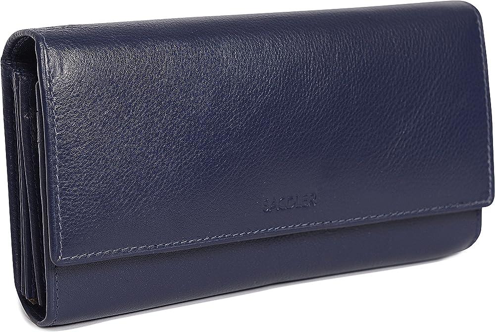 Saddler portafoglio porta carte di credito da donna in pelle SADDL-2044-PCBLU