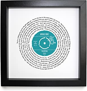 Michael Buble Everything Personalised Song - Vinyl Record Print of First Dance or Anniversary Song - fully framed BLACK box 9.5 inch frame