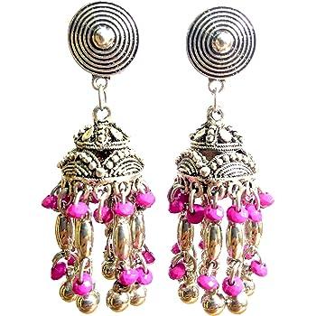 DESI HAWKER Silver Oxidized Earring Bali Jhumki Jhumka Jewelry Bollywood Long Drop Dangle Flat Chandelier NI-3