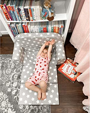 DELSIT Toddler Couch & Kids Sofa - European Made Children's 2 in 1 Flip Open Foam Double Sofa - Kids Folding Sofa, Ki
