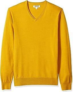 Marchio Amazon - Goodthreads, maglione da uomo in lana merino con scollo a V e motivo a righine